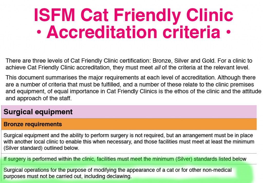 ISFM Declawing statement